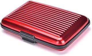 Women Men Waterproof ID Credit Card Wallet Holder Aluminum Metal Pocket Case .* Red