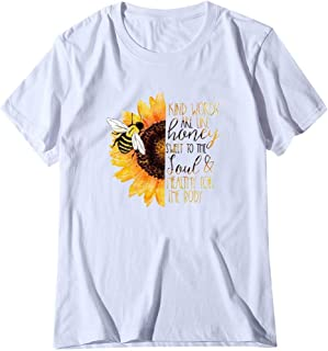 Mlide Cute Girls Summer Print T-Shirt Fashion Short Sleeve Beach Blouse Casual Loose Soft Tee Top Funny Sunflower Shirt
