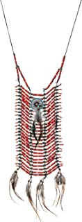 Novum Crafts | Indian Style Choker | Native American Style Breastplate Necklace Red
