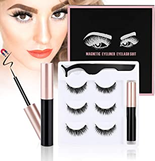 ToyRis Magnetic Eyelashes with Eyeliner Kit - 3 Pairs 10 Pairs Waterproof Reusable 3D 5D Natural Look False Lashes with Tw...