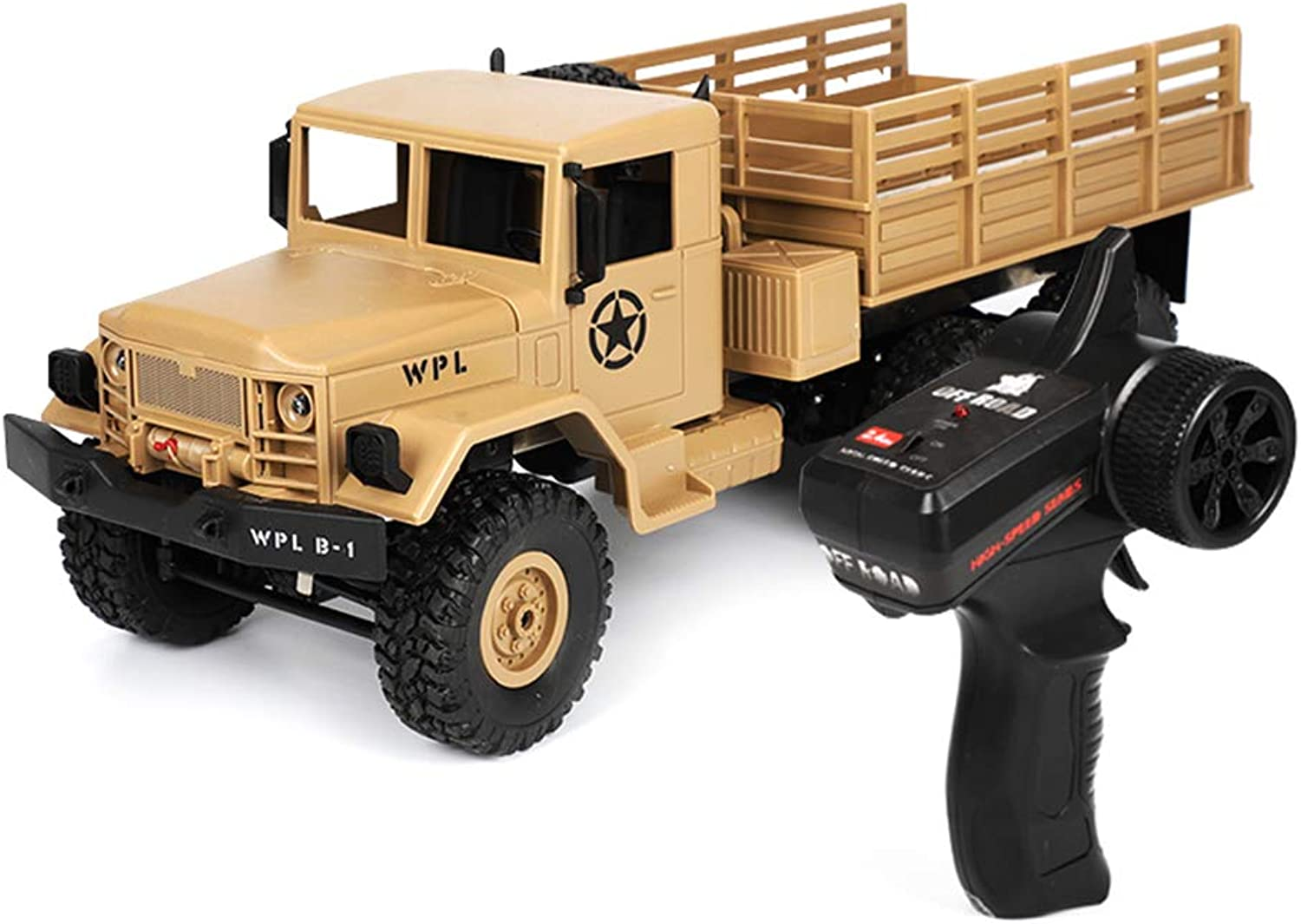 LyGuy RC Military Truck Kits 4WD 1 16 Offroad Crawler Car Toy Boys Kids DIY For WPL B16 Gift For Kids Brown