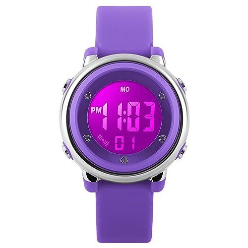 Relojes deportivos digitales para niñas Yesure. Reloj deportivo impermeable de 5 ATM con