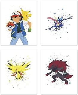 PGbureau Pokemon Poster Inspired Watercolor Wall Art Prints for boys and girls - Set of 4 Decor Painting Paper - Zoroark - Pikachu - Greninja 8x10 P53 by