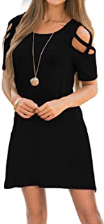Womens Dresses Cold Shoulder Round Neck Loose Tunic Casual T Shirt Dress