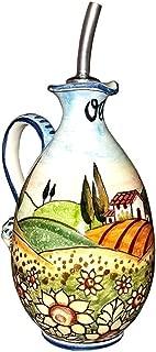 CERAMICHE D'ARTE PARRINI - Italian Ceramic Art Pottery Oil Cruet Bottle Hand Painted Decorated Landscape Sunflower Made in ITALY Tuscan