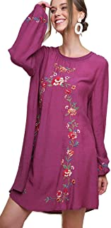 Umgee Women's Floral Embroidered Long Puff Sleeve Bohemian Dress
