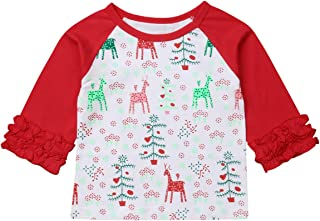 VISGOGO Christmas Kids Toddler Baby Girl Boy Long Sleeve T-Shirt Prints Top Blouse