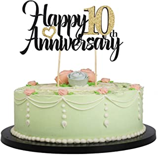 LVEUD Happy Birthday Cake Topper Black Font Golden Numbers Happy 10th Anniversary Birthday Cake Topper-Wedding,Anniversary,Birthday Party Decorations (10th)