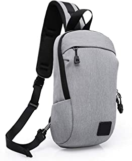 Bag Chest Bag Messenger Bag Student Shoulder Bag Diagonal Canvas Sports Leisure Backpack (Color : Gray)