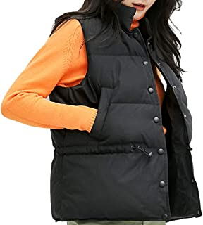 Womens Snap Vest Sleeveless Snap Lightweight Down Jackets Outerwear, Stand Collar Warm Gilet with Pockets, Black and White Optional (Color : Black, Size : M)
