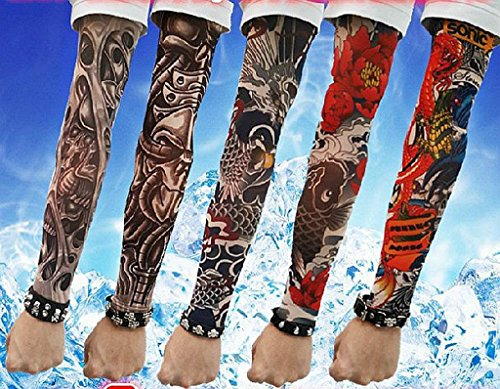 SHINA Hot High Quality Lot 5 Pcs Temporary Fake Slip On Tattoo Arm Sleeves Kit K