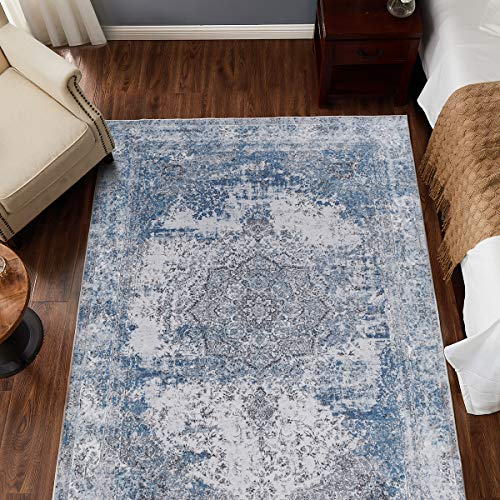 jinchan Blue Vintage Traditional Area Rug for Living Room Floorcover Soft Floral Printed Indoor Low Pile Mat for Bedroom 5'3'x 7'