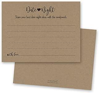 48 cnt Kraft Date Night Cards, Date Night Ideas, Date Jar, Rustic Bridal Shower and Wedding Reception Activity