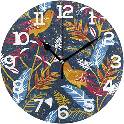 Birds in The Nature Design Paint Round Wooden Wall Clock 12 inches for Home Decor Living Room Kitchen Bedroom Office School Best Gift