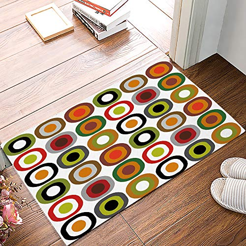 FunkyHome Mid Century Modern Doormat Entrance Mat, Geometric Welcome Floor Mats Indoor Entryway Rugs for Bathroom/Front/Kitchen/Bedroom Non-Slip Rubber Backing, 20x31.5inch