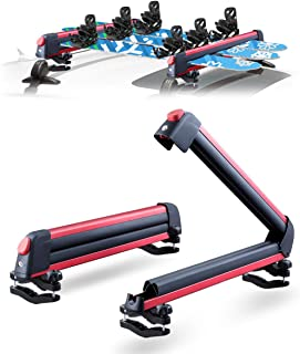LEADRACKS Ski & Snowboard Racks for Car Roof, Fit 6 Pairs Skis Or 4 Snowboards Resistant to -60°C, 2 Pcs Aviation Aluminum Universal Snowboard Roof Rack Lockable Fit Most Vehicle Crossbar Ride Quietly