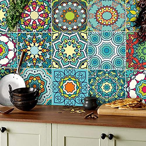 TOARTI 18 Pezzi Adesivi Piastrelle per Cucina,Mosaico Adesivi per Bagno,Impermeabile Adesivi per Piastrelle,Marocchino Sticker per Pavimento,Colorato Adesivo di Scale,Retrò Adesive Pavimento,15×15 CM