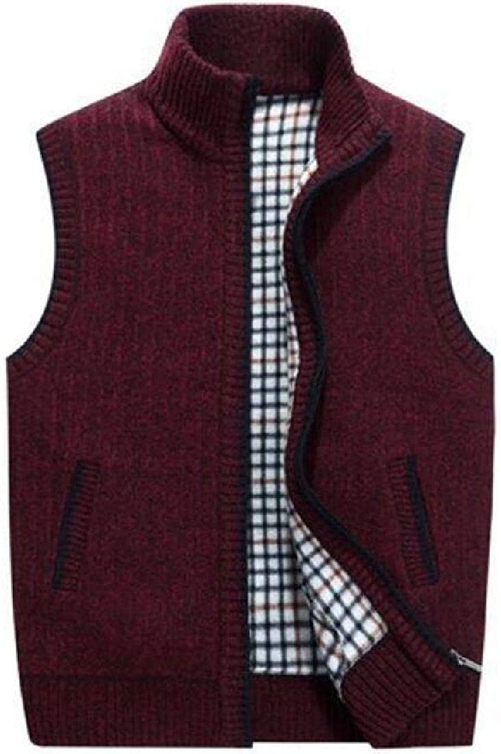 Yeirui Men Full Zip Casual Outerwear Sleeveless Knitted Sweater Vest Waistcoat