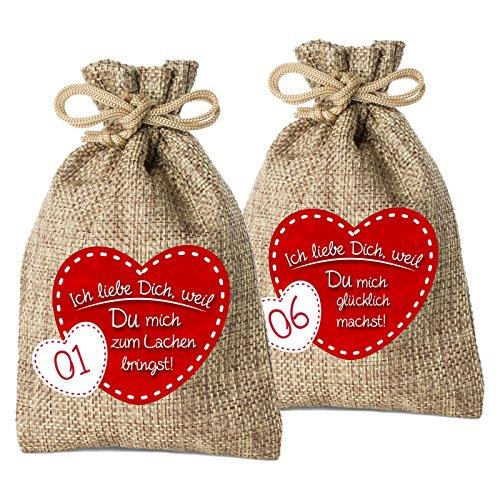 24 Adventskalender Säckchen aus Jute mit 24 Gründen Ich Liebe Dich, Weil. - (für Erwachsene Männer & Frauen geeignet) für Weihnachtskalender/Adventskalender zum Befüllen von Adventino