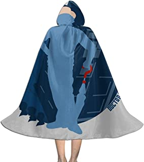 7th Doctor Who Silhouette Sylvester McCoy Tardis Unisex Kids Hooded Cloak Cape Halloween Party Decoration Role Cosplay Costumes Outwear Black