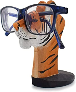 VIPbuy Handmade Wood Carving Eyeglasses Spectacle Holder Stand Sunglasses Display Rack Home Office Desk Décor Gift (Tiger)