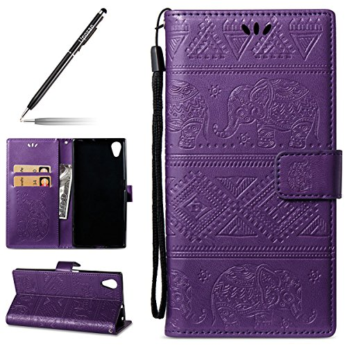Kompatibel mit Handyhülle Sony Xperia XA1 Plus Handytasche Handy Schutzhülle Retro Elefanten Muster Lederhülle Brieftasche Hülle Ledertasche Bookstyle Leder Wallet Klapphülle Flip Book Hülle,Lila