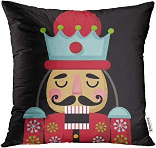 Emvency Decorative Throw Pillow Case Cushion Cover Colorful Cracker Christmas Nutcracker Cartoon Wooden Soldier Toy from The Ballet Nut 18x18 Inch Cases Square Pillowcases Covers Two Sides Print