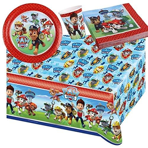 Lote de Cubiertos Infantiles'Patrulla Canina' (32 Vasos, 32 Platos,32 Servilletas y 2 Manteles.Vajillas y Complementos. Juguetes y Regalos para Fiestas de Cumpleaños, Bodas, Bautizos, Comuniones.