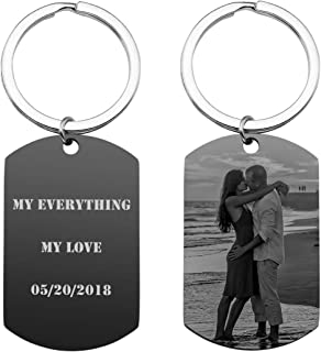 Personalized Photo Picture Keychain Eengraved Custom Text Stainless Steel Army Dog Tag Pendant Key Chain Ring for Men Women