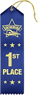 1st Place Swimming Award Ribbons - 25 Count Bundle – Includes Event Card and String – Made in The USA