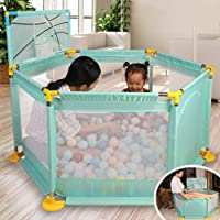 L.TSA Baby Playpen Safety Playard with Mini Basketball Hoop, Indoors Outdoors Breathable Mesh Ball Pit Tent for Kids