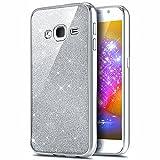 Galaxy J5móvil, ikasus® TPU Silicona protector para teléfono móvil Case Funda Bumper Crystal Case Funda para Samsung Galaxy J5(2015) sm-j500F (5pulgadas) transparente con brillante purpurina reves