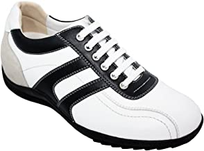 TOTO Men's Invisible Height Increasing Elevator Shoes - White/Black Leather Lace-up Casual Trainer Sneakers - 2.8 Inches Taller - A66362