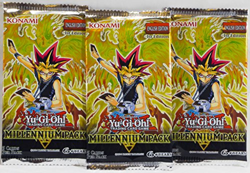 Yu-Gi-Oh! Millennium Pack Booster Pack 5 Cards Per Pack 3 Pack Set - 15 Cards in All - Exclusive Series 1st Edition - Konami English Edition