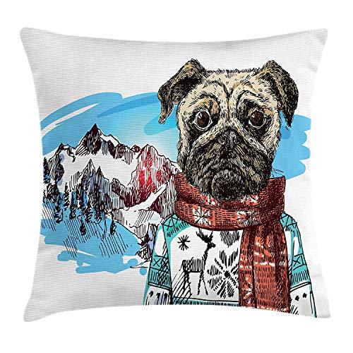 Butlerame Mops Kissenbezug, Sketch Style Hund mit Winterkleidung Schal Pullover Berge Hintergrund Open Sky Image, 18x18 Zoll, Rubinblau