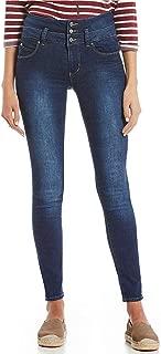 YMI Jeanswear Juniors' Wannabettabutt Triple Button Stacked-Waist Skinny Jeans