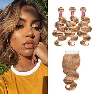 WOME Honey Blonde Bundles with Closure Brazilian Virgin Human Hair Bundles with Closure Color 27 Body Wave Bundles with Lace Closure 8A Hair Extensions(10 12 14+10 Closure)