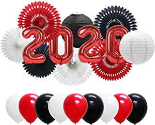 Red 2020 Graduation Balloons Banner, New Year Eve Party Supplies, Latex Balloons, Hanging Tissue Paper Fans, Paper Lanterns for Prom Back to School Decorations