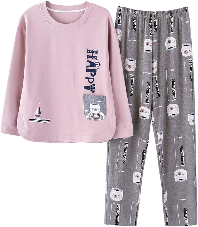 RGHOP Pyjamas Damen Baumwolle Langarm Hosen Cartoon Set Casual Home Service Hersteller Großhandel B07JJM9N4Z  Charakteristisch