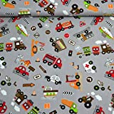MAGAM-Stoffe Bunte Autowelt Baumwollstoff grau Kinderstoff