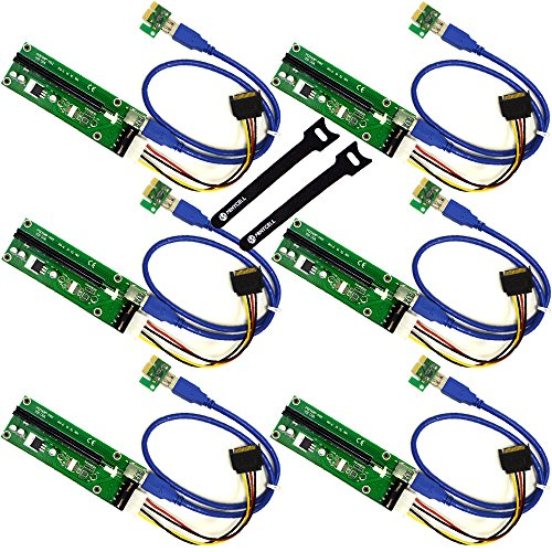 MintCell 6-Pack PCIe 4-Pin MOLEX PCI-E 16x to 1x Powered Riser Adapter Card w/ 60cm USB 3.0 Extension Cable & MOLEX to SATA Power Cable - GPU Riser Adapter Ethereum Mining ETH + 2 Cable Ties