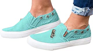 Womens Canvas Shoes Flat Sports Running Shoes Summer Zipper Beach Shoes Casual Single Shoes by Gyouanime