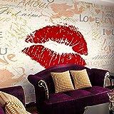 Azbza mural pared dormitorio juvenil 390 x 260cm (WxH) Creatividad letras labios rojos amor. Papel Pintado 3D Sala Living Oficina Dormitorio