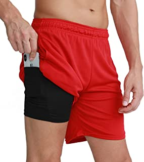"""CongYee Men's Running Gym 2 in 1 Sports Quick Drying Breathable Shorts Outdoor Training 7"""" Shorts with Phone Pocket"""