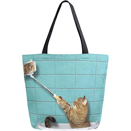 Mnsruu Lustige Katze Kätzchen Tier Lebensmittel, wiederverwendbare Tragetasche Frauen große Casual Handtasche Schultertasche für Einkaufen Lebensmittel Reisen Outdoor