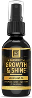 Zhou Nutrition Hairfluence Tame & Shine Hair Oil for Frizz-Free Healthy Shine - Scientifically Formulated Hair Oil Serum & Detangler with Keratin, Biotin, Argan, Baobab, Marula, Castor Oils - 2 oz.