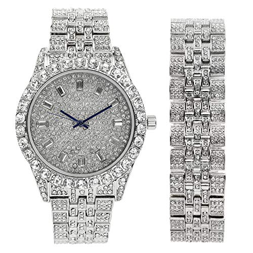Mens Watch w/Matching Iced Look Bracelet Rolly Hip Hop Metal Timepiece - Big Rhinestones on Trim and Elegant Baquette Time Indicators on Dial - Master Bling Designer - ST10226BGS (Silver)
