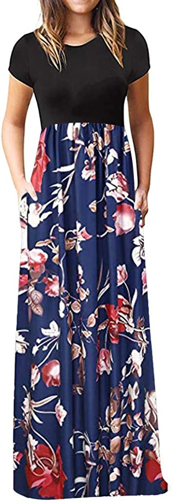 Nulairt Dress for Women, Women's Casual Loose Pocket Long Dress Solid Floral Patchwork Short Sleeve Swing Maxi Dresses
