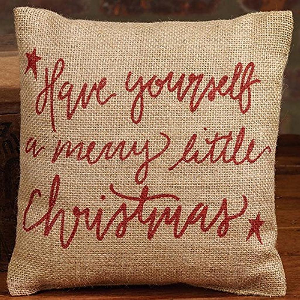 からに変化するほかに爆発Merry Little Christmas Red Script 8 x 8 Small Burlap Throw Pillow [並行輸入品]