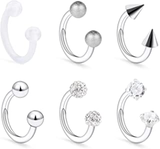 Senxido 16Pcs 16G 316L Stainless Steel CZ Labret Monroe Lip Rings Cartilage Helix Tragus Nose Piercing 6-8MM
